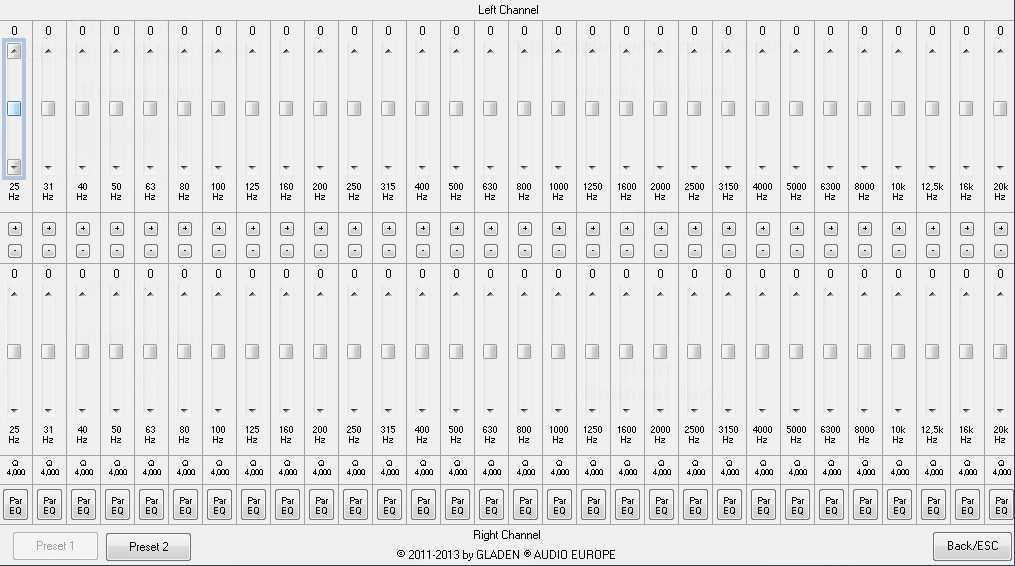 Un procesador con 32 bandas de ecualización para el altavoz izquierdo y 32 para el derecho